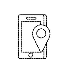 dotted shape smartphone technology with location vector image