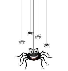 funny family of spider cartoon for you design vector image