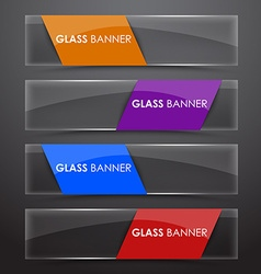 Glass banner with colors ribbon vector image vector image