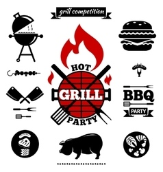 Grill party objects vector image vector image