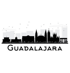 Guadalajara city skyline black and white vector