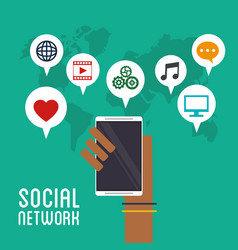 hand holds smartphone social network icons vector image