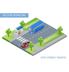 Isometric city street with traffic vector image