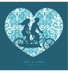 Light blue swirls damask couple on tandem vector