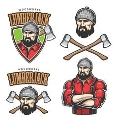 lumberjack emblems vector image vector image