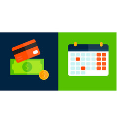 Money card and calendar icon isolated vector