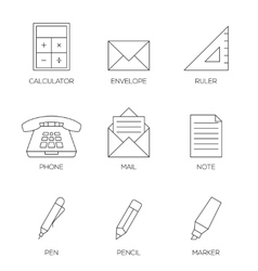Office tools outline icons vol 2 vector image vector image
