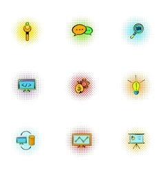 Optimization icons set pop-art style vector image vector image