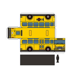 paper model of a classic school bus vector image