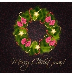 Realistic christmas wreath on vintage background vector image