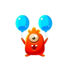 Red Toy Monster With Two Balloons vector image