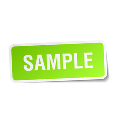 Sample green square sticker on white background vector