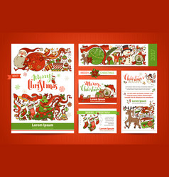 Set of corporate christmas templates vector
