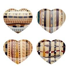 Set of glass hearts with ethnic texture inside vector