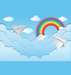 Sky scene with paper airplanes vector