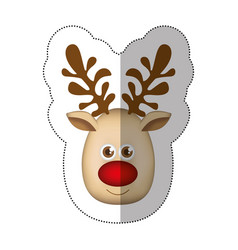 sticker colorful cartoon cute face reindeer animal vector image vector image