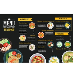 thai food restaurant menu template flat design vector image vector image