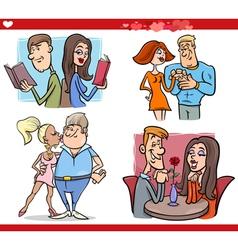 valentine couples in love cartoon set vector image vector image
