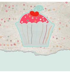 Vintage cupcake card vector