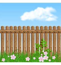Wooden fence on green grass with flowers vector image