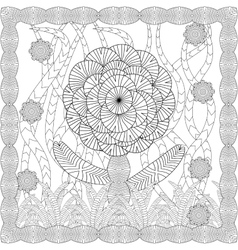 Coloring page for adult anti stress coloring and vector