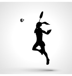 Silhouette of abstract female badminton player vector image