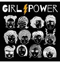 Doodle style set of diverse female faces vector