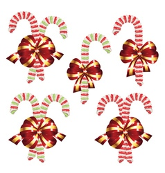 Candy canes with bow set2 vector
