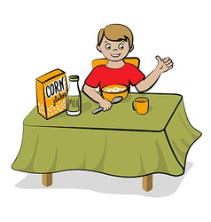 Small boy have a breakfast vector