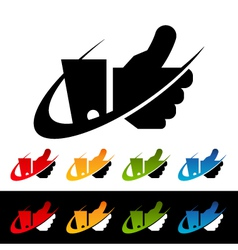 Swoosh Thumbs Up Logo Icons vector image