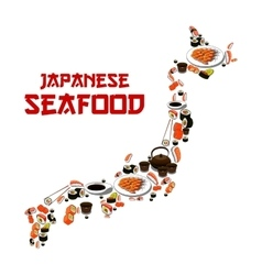 Japan map japanese seafood sushi fish food sashimi vector