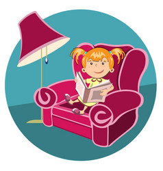 Little girl reading a book in an armchair vector