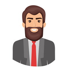 Colorful portrait half body of man with beard and vector