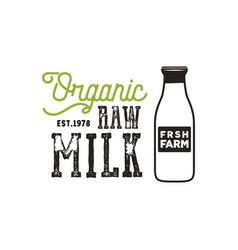 Organic raw milk poster farm fresh products vector
