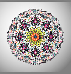 Ornamental round colorful geometric pattern in vector