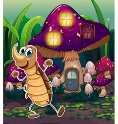 A cockroach near the violet mushroom house vector