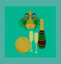 Flat shading style icon champagne bell vector