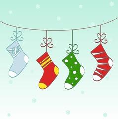 Christmas socks text frame vector image