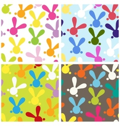 Set of colorful seamless paterns with easter bunny vector