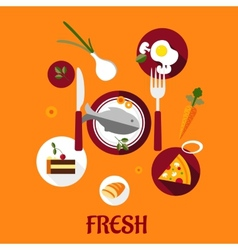 Fresh food flat design vector