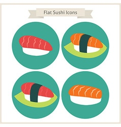 Flat food sushi circle icons set vector