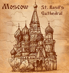 Moscow st basils cathedral card vector