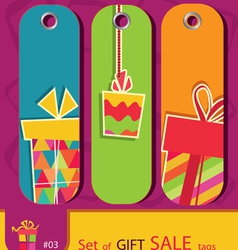 set of price tags with gift box vector image