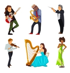 Musicians flat icons set vector
