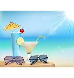 Summer in beach with drinks and sunglasses vector image