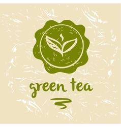 Green tea logo and package grange background vector