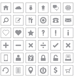 Gray web icon flat style on rectangle vector