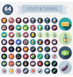 Icons For Food Drinks Fruits and Vegetables vector image