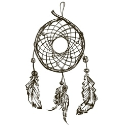 Indian ethnic dream catcher with feathers vector
