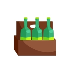 Wooden crate with beer bottles icon cartoon style vector